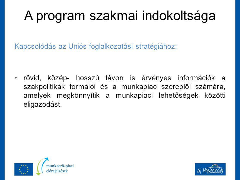 A program szakmai indokoltsága Kapcsolódás az Uniós foglalkozatási stratégiához: rövid, közép- hosszú távon is érvényes információk a szakpolitikák formálói és a munkapiac szereplői számára, amelyek megkönnyítik a munkapiaci lehetőségek közötti eligazodást.