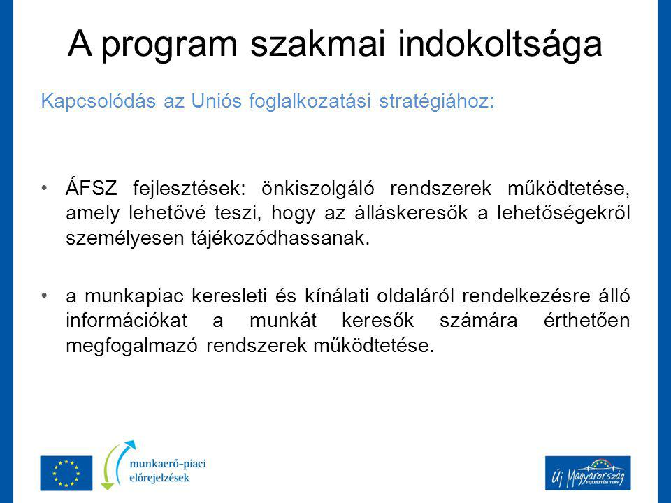 A program szakmai indokoltsága Kapcsolódás az Uniós foglalkozatási stratégiához: ÁFSZ fejlesztések: önkiszolgáló rendszerek működtetése, amely lehetővé teszi, hogy az álláskeresők a lehetőségekről személyesen tájékozódhassanak.