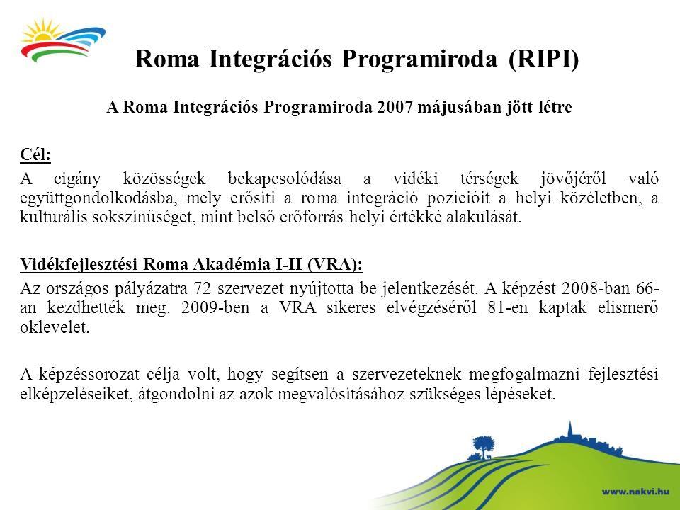 A Roma Integrációs Programiroda 2007 májusában jött létre Cél: A cigány közösségek bekapcsolódása a vidéki térségek jövőjéről való együttgondolkodásba