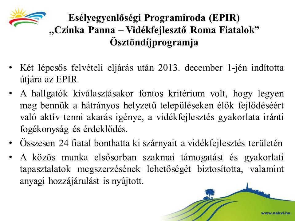 """Esélyegyenlőségi Programiroda (EPIR) """"Czinka Panna – Vidékfejlesztő Roma Fiatalok"""" Ösztöndíjprogramja Két lépcsős felvételi eljárás után 2013. decembe"""