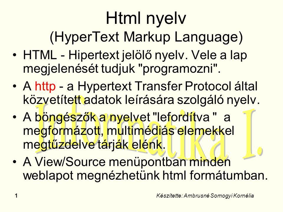 2Készítette: Ambrusné Somogyi Kornélia A HTML-ben írt dokumentum csak ASCII- karakterekből áll és két dolgot tartalmaz: a dokumentum szövegét, HTML-elemeket ún.