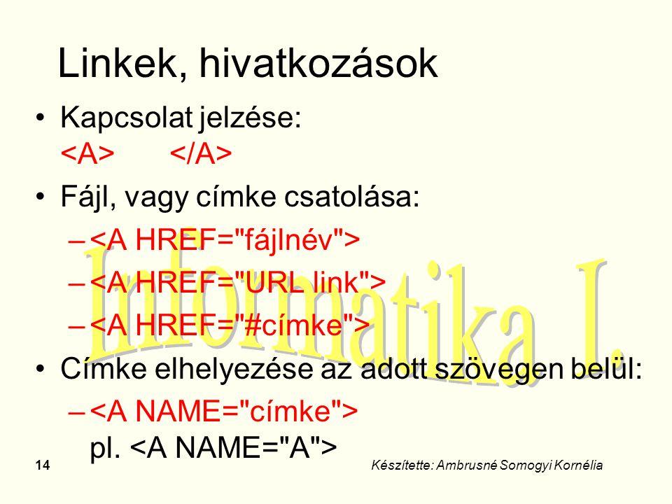 14Készítette: Ambrusné Somogyi Kornélia Linkek, hivatkozások Kapcsolat jelzése: Fájl, vagy címke csatolása: – Címke elhelyezése az adott szövegen belü