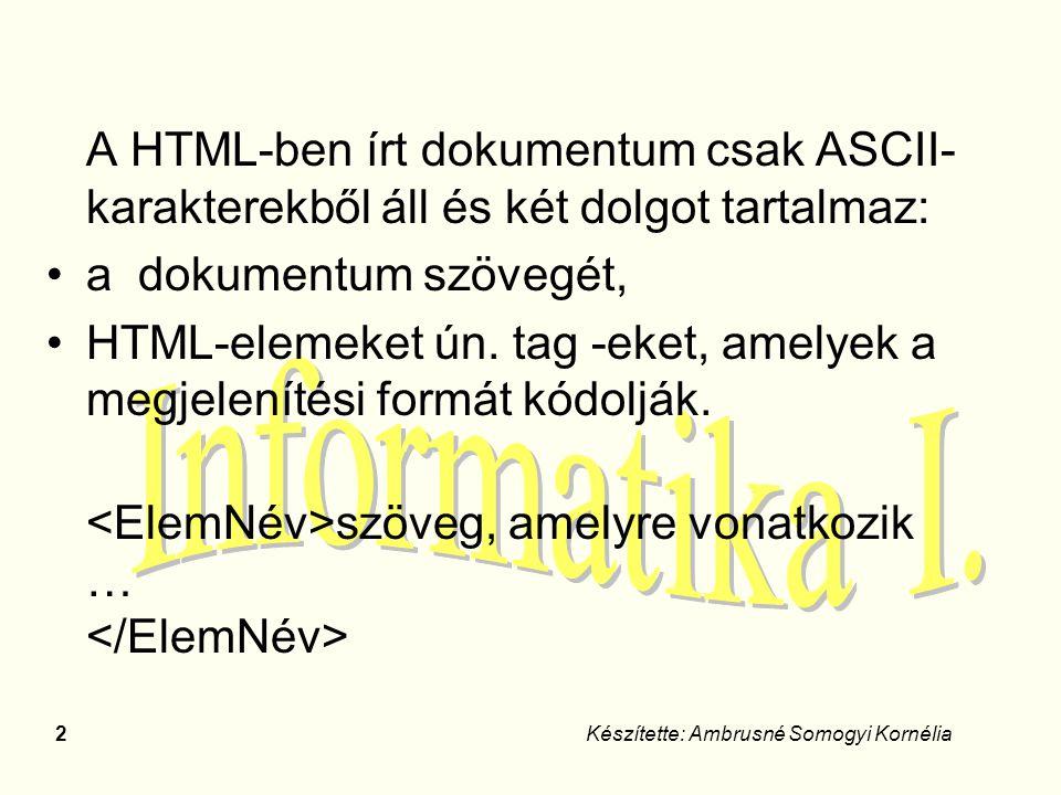 2Készítette: Ambrusné Somogyi Kornélia A HTML-ben írt dokumentum csak ASCII- karakterekből áll és két dolgot tartalmaz: a dokumentum szövegét, HTML-el