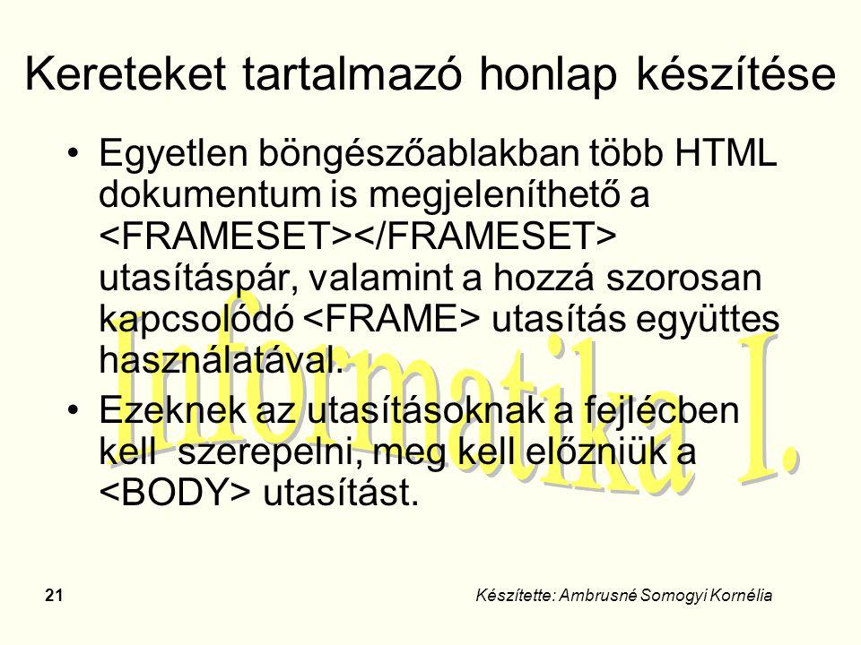 21Készítette: Ambrusné Somogyi Kornélia Kereteket tartalmazó honlap készítése Egyetlen böngészőablakban több HTML dokumentum is megjeleníthető a utasí