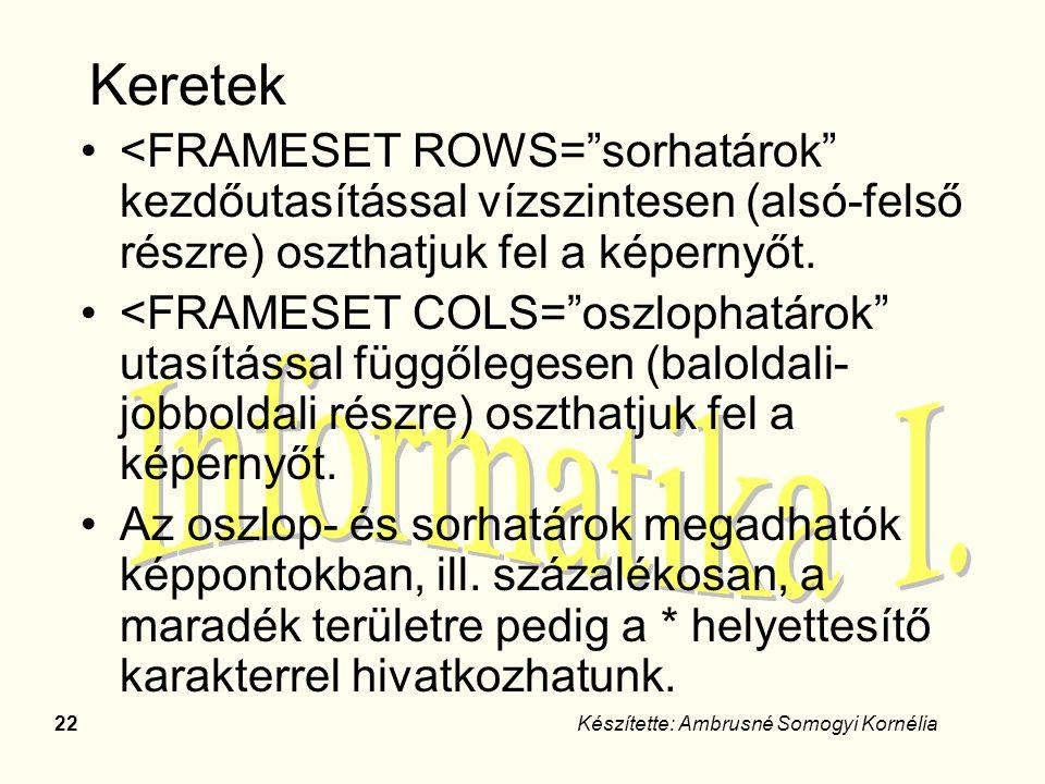 """22Készítette: Ambrusné Somogyi Kornélia Keretek <FRAMESET ROWS=""""sorhatárok"""" kezdőutasítással vízszintesen (alsó-felső részre) oszthatjuk fel a képerny"""