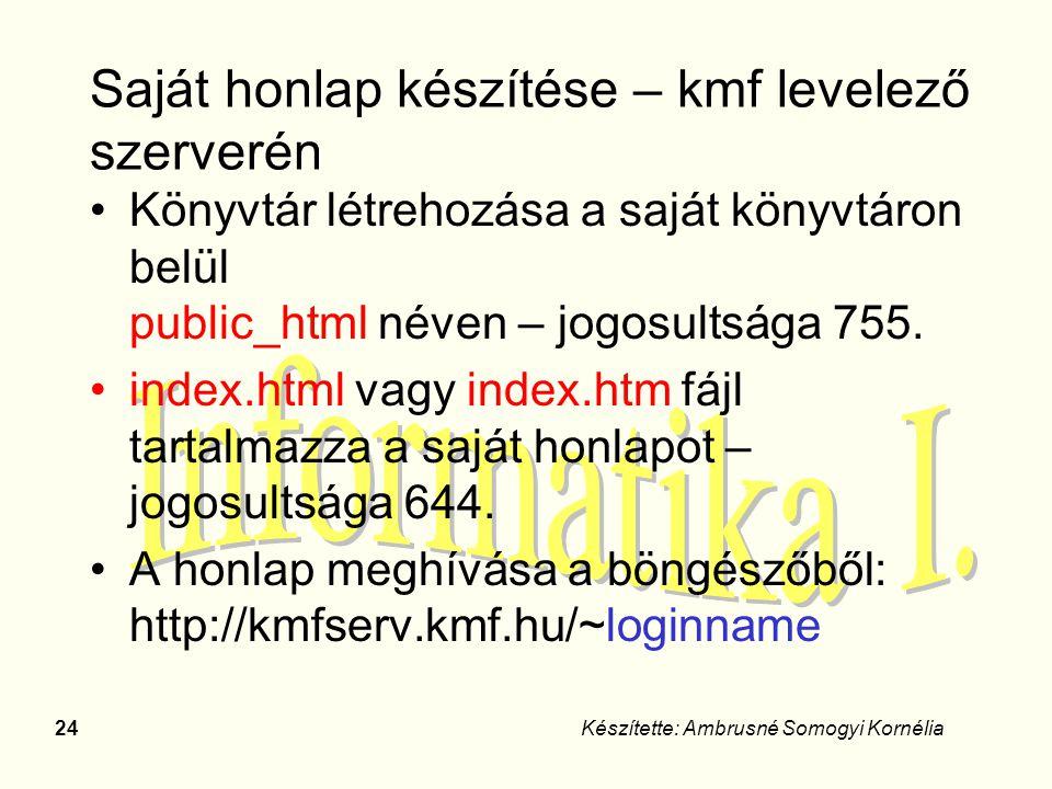 24Készítette: Ambrusné Somogyi Kornélia Saját honlap készítése – kmf levelező szerverén Könyvtár létrehozása a saját könyvtáron belül public_html néve