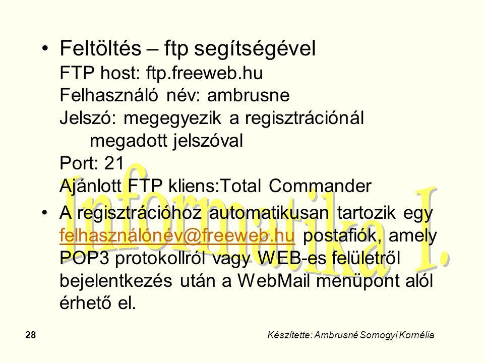 28Készítette: Ambrusné Somogyi Kornélia Feltöltés – ftp segítségével FTP host: ftp.freeweb.hu Felhasználó név: ambrusne Jelszó: megegyezik a regisztrá