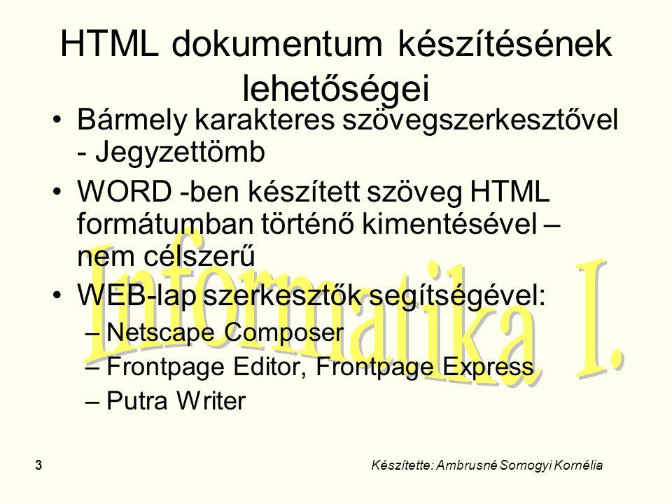 34Készítette: Ambrusné Somogyi Kornélia Nézetek webhelykészítéskor Weblap nézetei –Normál –HTML –Minta Kereteket tartalmazó lap esetén –Keretek nélkül –Kereteket tartalmazó lap HTML-nézete