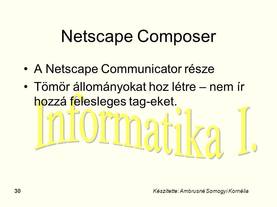30Készítette: Ambrusné Somogyi Kornélia Netscape Composer A Netscape Communicator része Tömör állományokat hoz létre – nem ír hozzá felesleges tag-eke