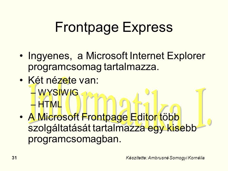 31Készítette: Ambrusné Somogyi Kornélia Frontpage Express Ingyenes, a Microsoft Internet Explorer programcsomag tartalmazza. Két nézete van: –WYSIWIG