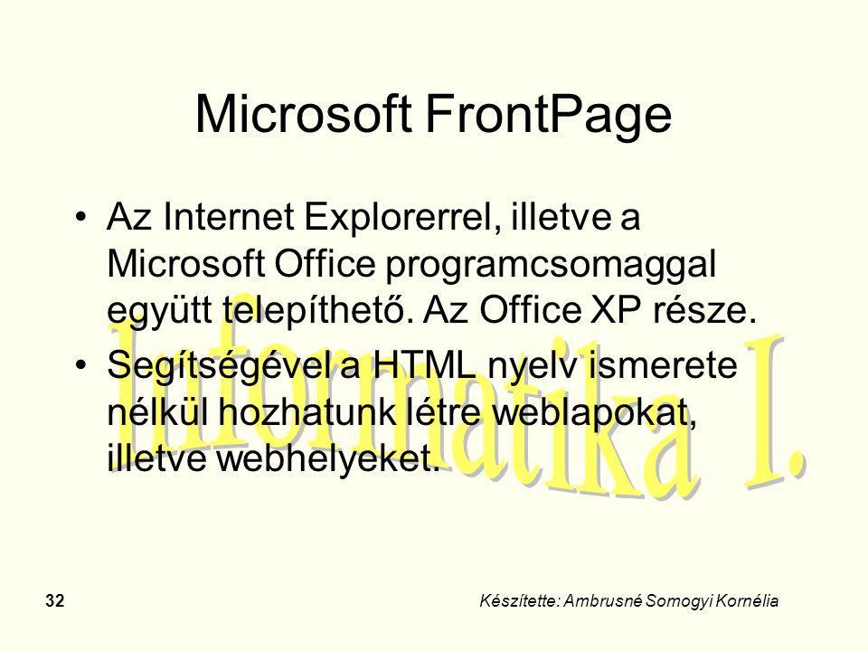 32Készítette: Ambrusné Somogyi Kornélia Microsoft FrontPage Az Internet Explorerrel, illetve a Microsoft Office programcsomaggal együtt telepíthető. A