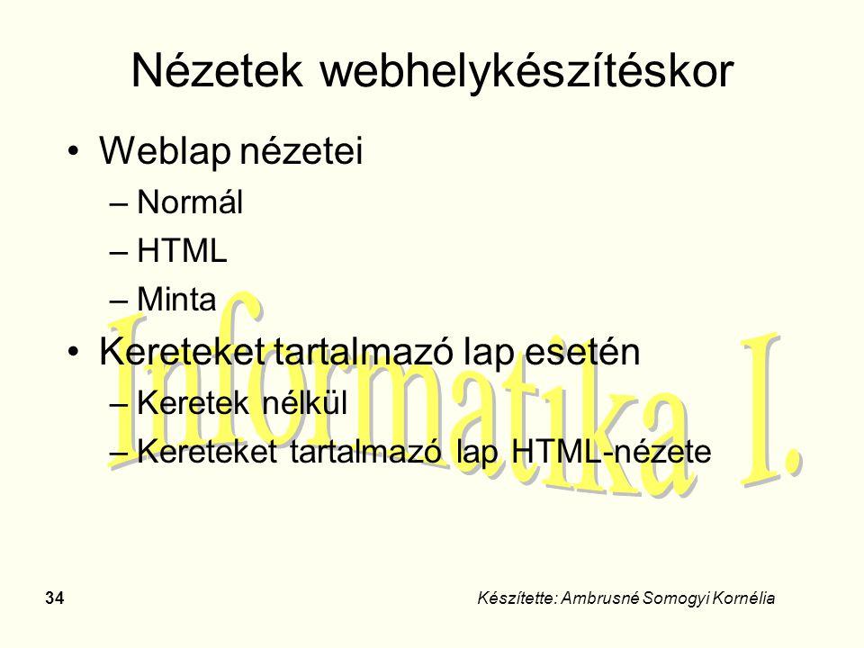 34Készítette: Ambrusné Somogyi Kornélia Nézetek webhelykészítéskor Weblap nézetei –Normál –HTML –Minta Kereteket tartalmazó lap esetén –Keretek nélkül