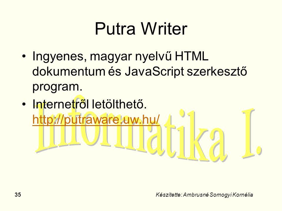 35Készítette: Ambrusné Somogyi Kornélia Putra Writer Ingyenes, magyar nyelvű HTML dokumentum és JavaScript szerkesztő program. Internetről letölthető.