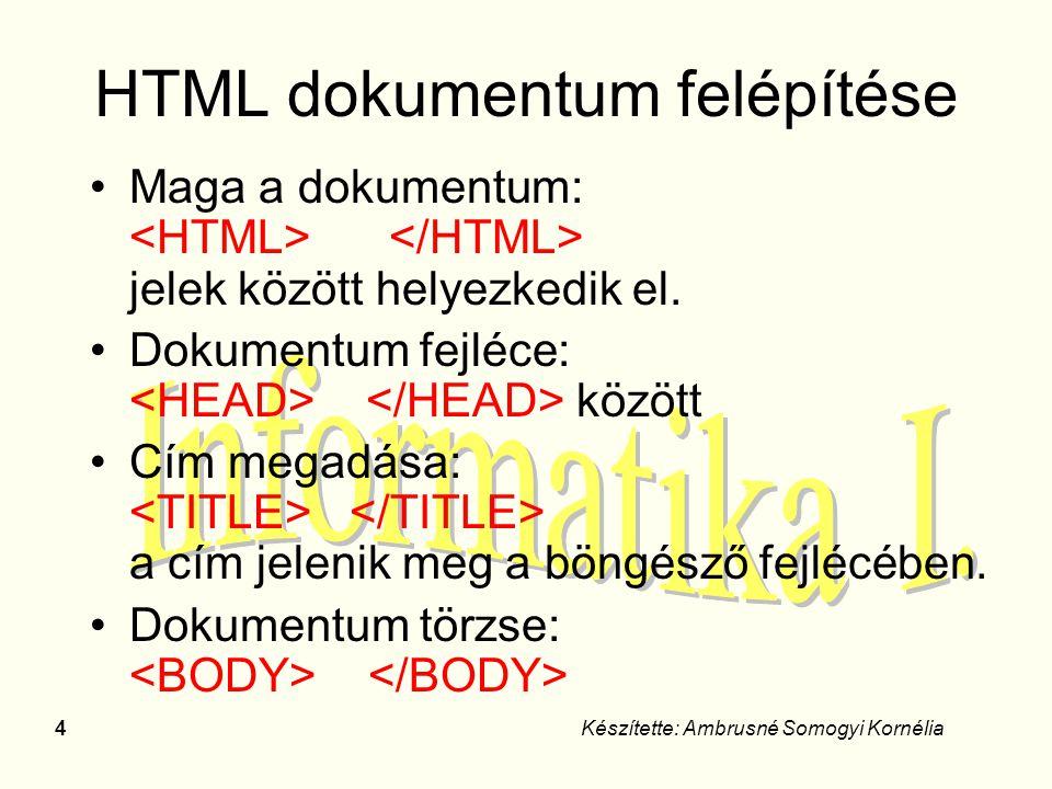 4Készítette: Ambrusné Somogyi Kornélia HTML dokumentum felépítése Maga a dokumentum: jelek között helyezkedik el. Dokumentum fejléce: között Cím megad