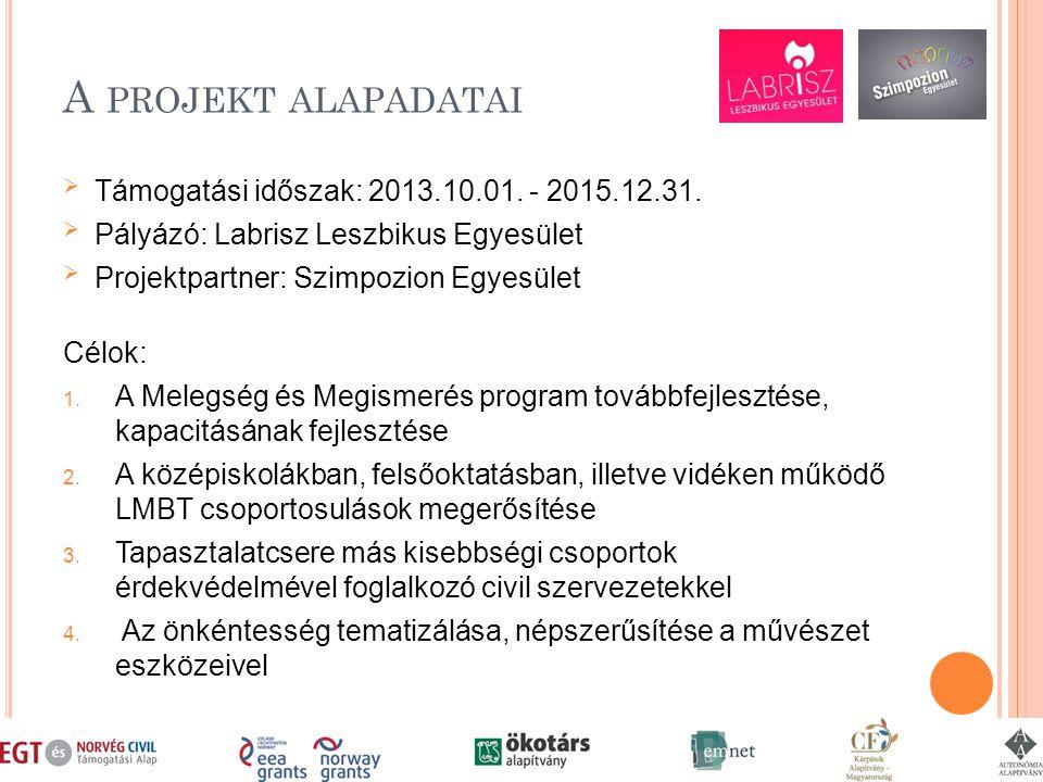 A PROJEKT ALAPADATAI  Támogatási időszak: 2013.10.01.