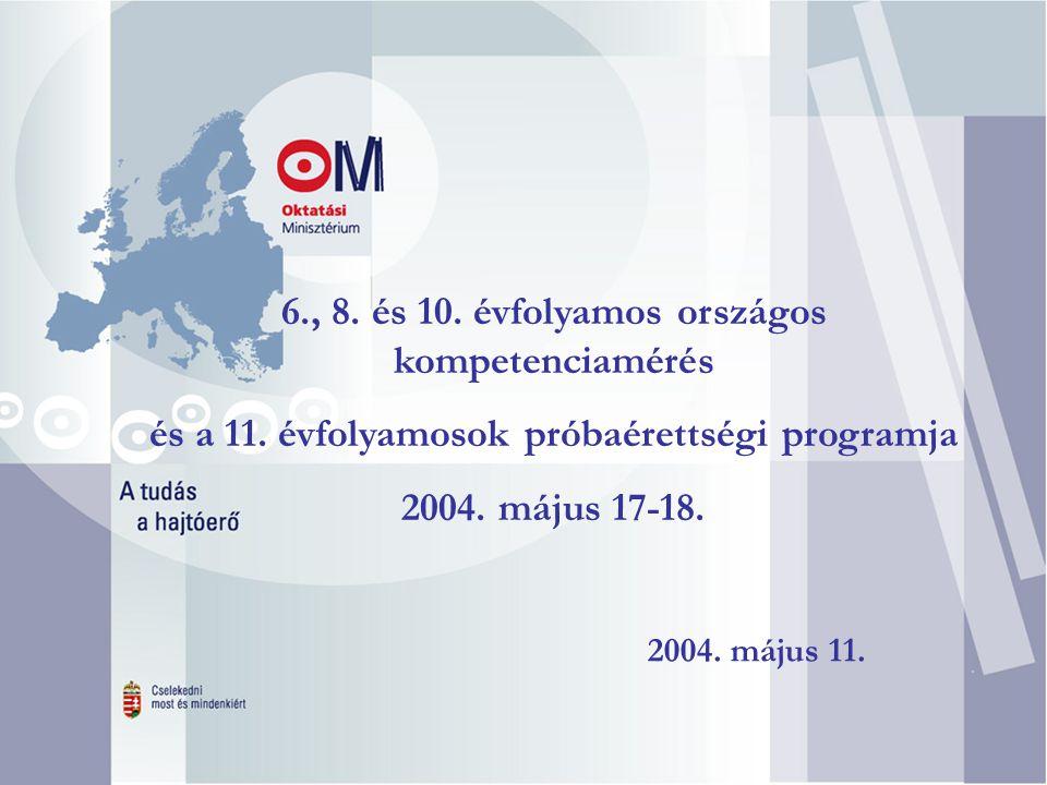 . 2004. május 11. 6., 8. és 10. évfolyamos országos kompetenciamérés és a 11. évfolyamosok próbaérettségi programja 2004. május 17-18.