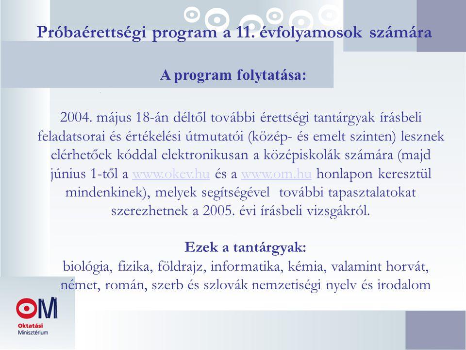 Próbaérettségi program a 11. évfolyamosok számára A program folytatása: 2004. május 18-án déltől további érettségi tantárgyak írásbeli feladatsorai és