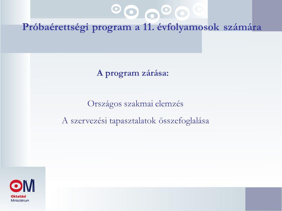 Próbaérettségi program a 11. évfolyamosok számára A program zárása: Országos szakmai elemzés A szervezési tapasztalatok összefoglalása
