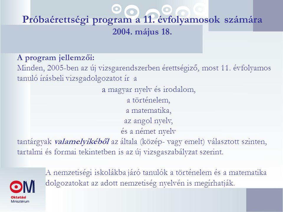 Próbaérettségi program a 11. évfolyamosok számára 2004. május 18. A program jellemzői: Minden, 2005-ben az új vizsgarendszerben érettségiző, most 11.