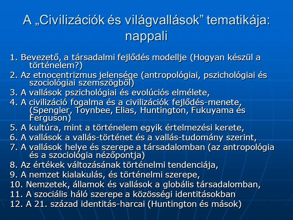 """A """"Civilizációk és világvallások tematikája: nappali 1."""