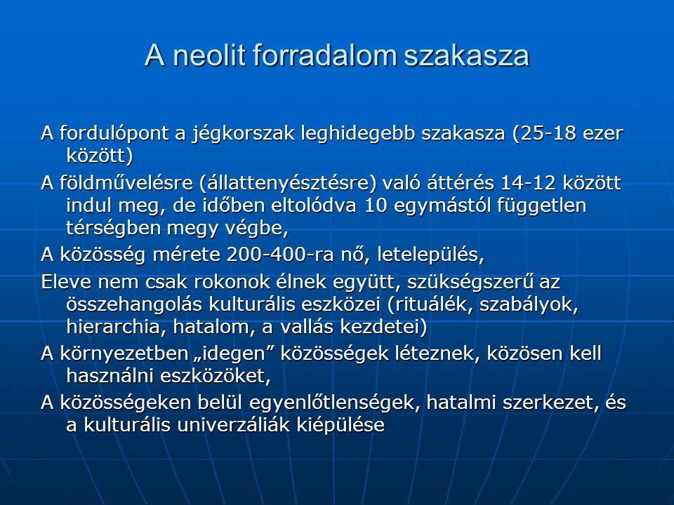 """A neolit forradalom szakasza A fordulópont a jégkorszak leghidegebb szakasza (25-18 ezer között) A földművelésre (állattenyésztésre) való áttérés 14-12 között indul meg, de időben eltolódva 10 egymástól független térségben megy végbe, A közösség mérete 200-400-ra nő, letelepülés, Eleve nem csak rokonok élnek együtt, szükségszerű az összehangolás kulturális eszközei (rituálék, szabályok, hierarchia, hatalom, a vallás kezdetei) A környezetben """"idegen közösségek léteznek, közösen kell használni eszközöket, A közösségeken belül egyenlőtlenségek, hatalmi szerkezet, és a kulturális univerzáliák kiépülése"""