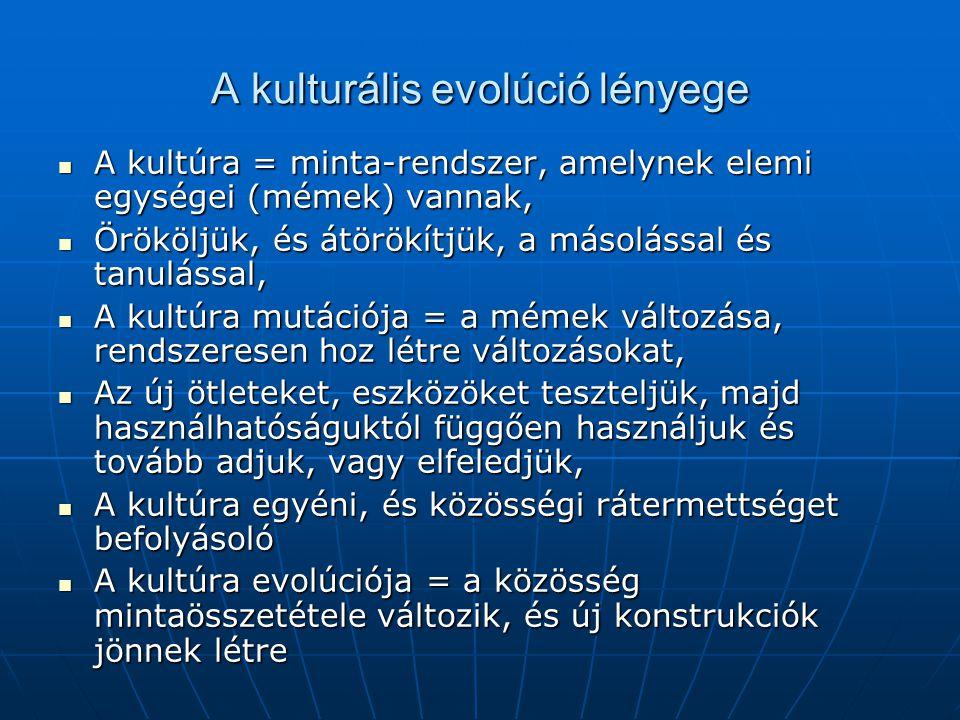 A kulturális evolúció lényege A kultúra = minta-rendszer, amelynek elemi egységei (mémek) vannak, A kultúra = minta-rendszer, amelynek elemi egységei (mémek) vannak, Örököljük, és átörökítjük, a másolással és tanulással, Örököljük, és átörökítjük, a másolással és tanulással, A kultúra mutációja = a mémek változása, rendszeresen hoz létre változásokat, A kultúra mutációja = a mémek változása, rendszeresen hoz létre változásokat, Az új ötleteket, eszközöket teszteljük, majd használhatóságuktól függően használjuk és tovább adjuk, vagy elfeledjük, Az új ötleteket, eszközöket teszteljük, majd használhatóságuktól függően használjuk és tovább adjuk, vagy elfeledjük, A kultúra egyéni, és közösségi rátermettséget befolyásoló A kultúra egyéni, és közösségi rátermettséget befolyásoló A kultúra evolúciója = a közösség mintaösszetétele változik, és új konstrukciók jönnek létre A kultúra evolúciója = a közösség mintaösszetétele változik, és új konstrukciók jönnek létre