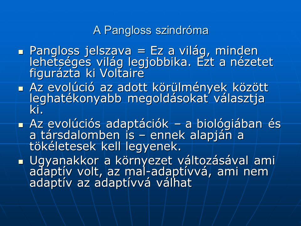 A Pangloss szindróma Pangloss jelszava = Ez a világ, minden lehetséges világ legjobbika.