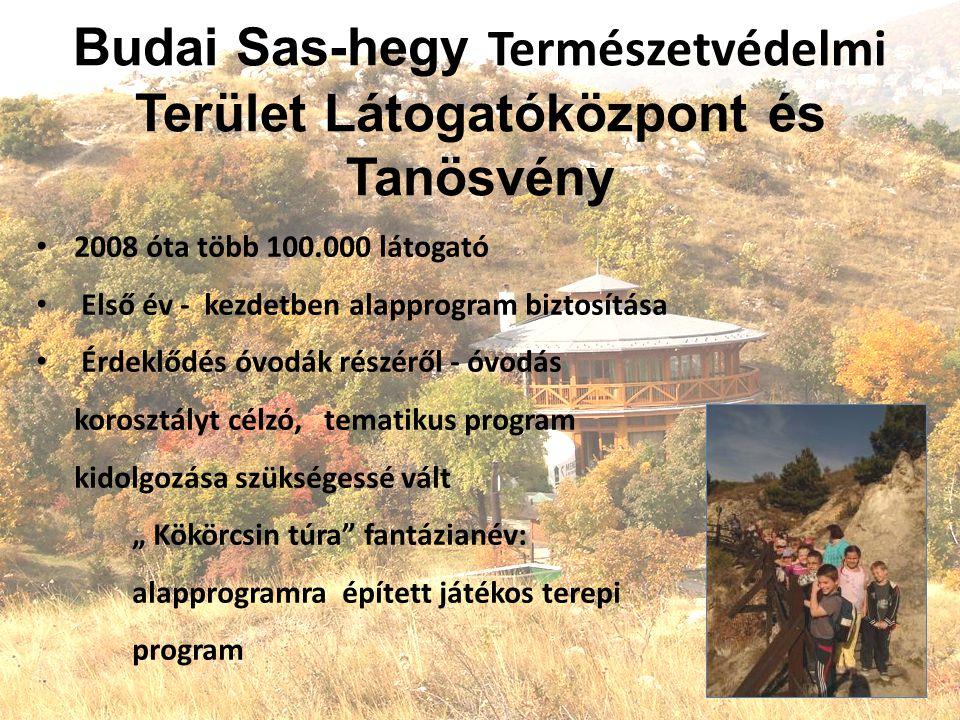 """Budai Sas-hegy Természetvédelmi Terület Látogatóközpont és Tanösvény 2008 óta több 100.000 látogató Első év - kezdetben alapprogram biztosítása Érdeklődés óvodák részéről - óvodás korosztályt célzó, tematikus program kidolgozása szükségessé vált """" Kökörcsin túra fantázianév: alapprogramra épített játékos terepi program"""