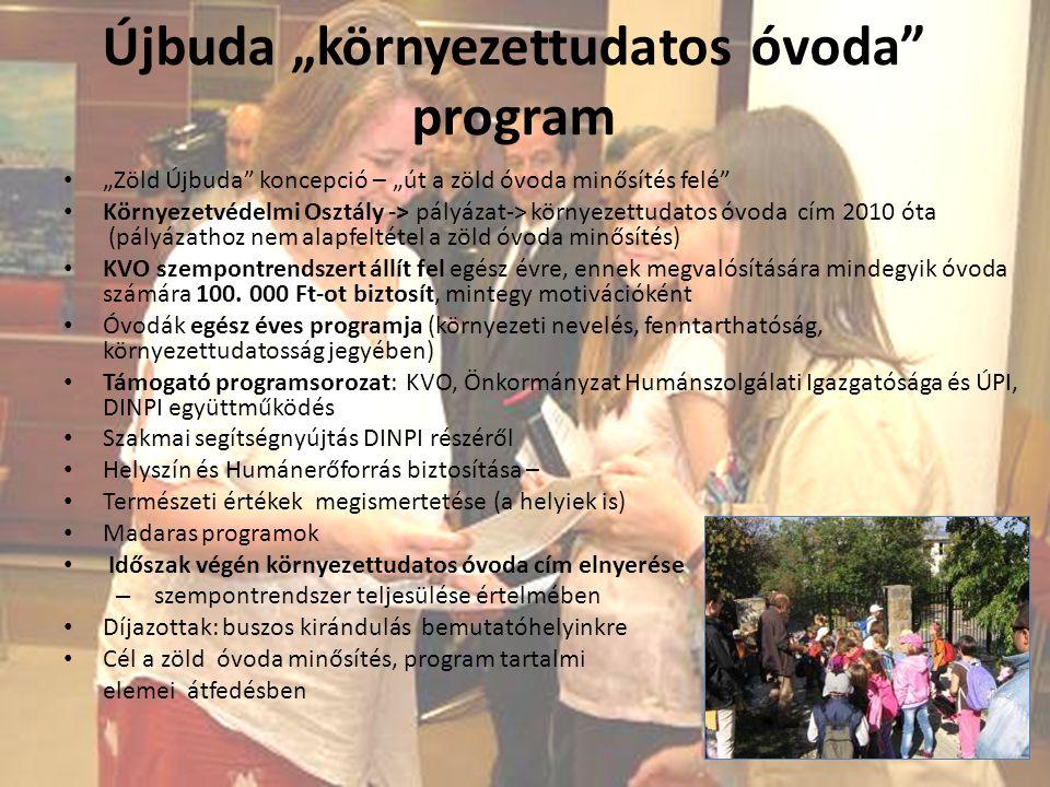 """Újbuda """"környezettudatos óvoda"""" program """"Zöld Újbuda"""" koncepció – """"út a zöld óvoda minősítés felé"""" Környezetvédelmi Osztály -> pályázat-> környezettud"""