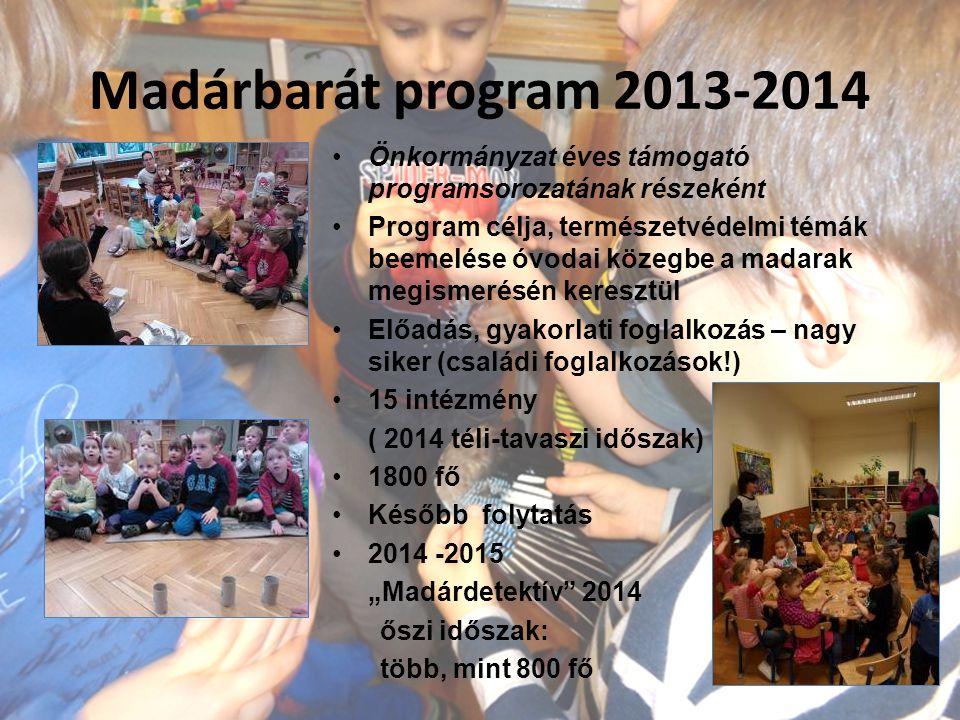 """Madárbarát program 2013-2014 Önkormányzat éves támogató programsorozatának részeként Program célja, természetvédelmi témák beemelése óvodai közegbe a madarak megismerésén keresztül Előadás, gyakorlati foglalkozás – nagy siker (családi foglalkozások!) 15 intézmény ( 2014 téli-tavaszi időszak) 1800 fő Később folytatás 2014 -2015 """"Madárdetektív 2014 őszi időszak: több, mint 800 fő"""