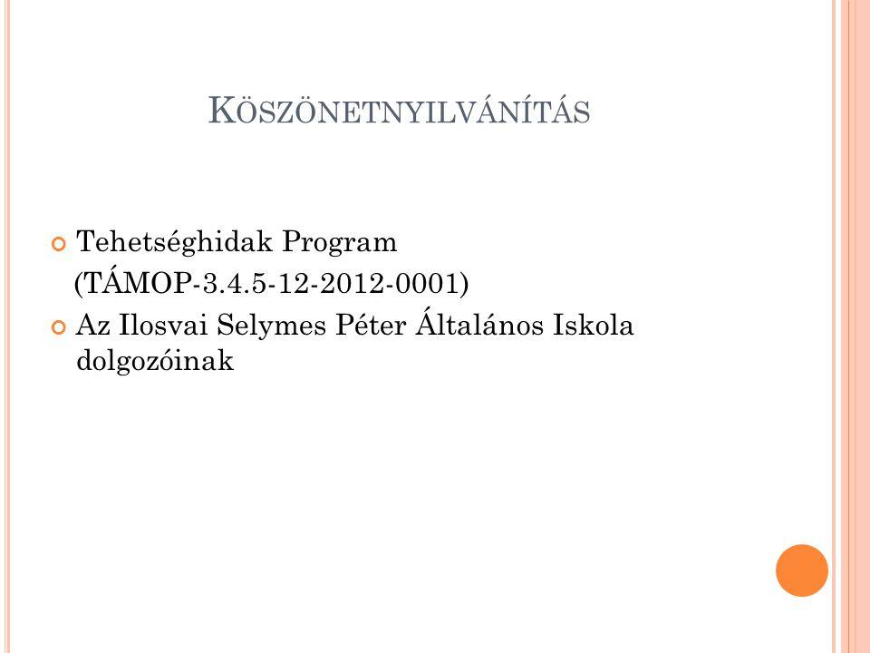 K ÖSZÖNETNYILVÁNÍTÁS Tehetséghidak Program (TÁMOP-3.4.5-12-2012-0001) Az Ilosvai Selymes Péter Általános Iskola dolgozóinak
