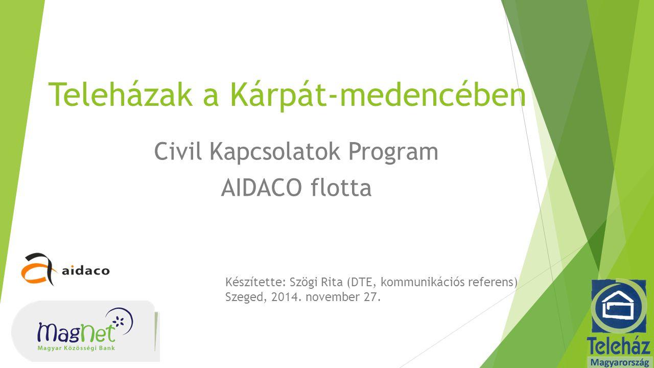 Teleházak a Kárpát-medencében Civil Kapcsolatok Program AIDACO flotta Készítette: Szögi Rita (DTE, kommunikációs referens) Szeged, 2014.