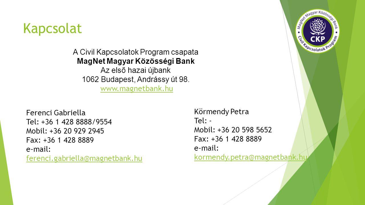 Kapcsolat Ferenci Gabriella Tel: +36 1 428 8888/9554 Mobil: +36 20 929 2945 Fax: +36 1 428 8889 e-mail: ferenci.gabriella@magnetbank.hu ferenci.gabriella@magnetbank.hu Körmendy Petra Tel: - Mobil: +36 20 598 5652 Fax: +36 1 428 8889 e-mail: kormendy.petra@magnetbank.hu kormendy.petra@magnetbank.hu A Civil Kapcsolatok Program csapata MagNet Magyar Közösségi Bank Az első hazai újbank 1062 Budapest, Andrássy út 98.