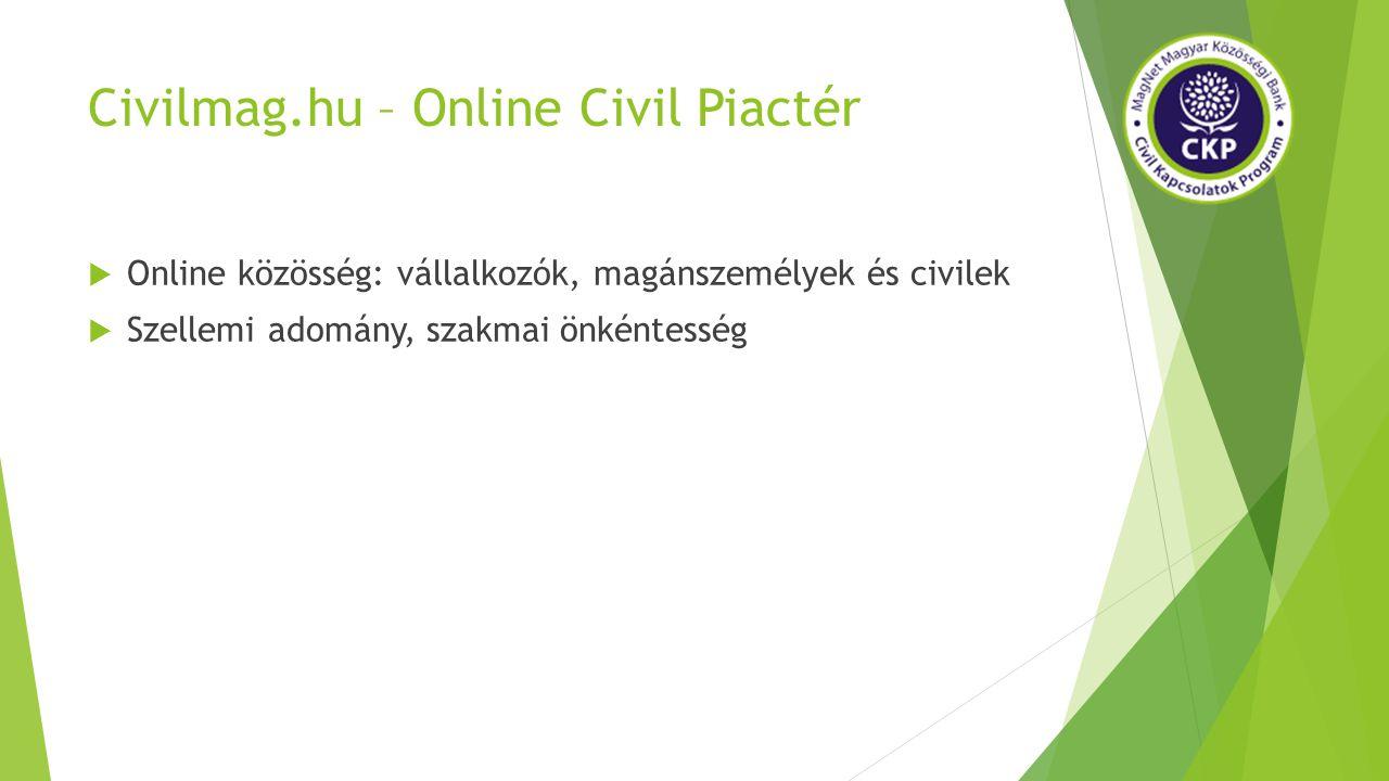 Civilmag.hu – Online Civil Piactér  Online közösség: vállalkozók, magánszemélyek és civilek  Szellemi adomány, szakmai önkéntesség