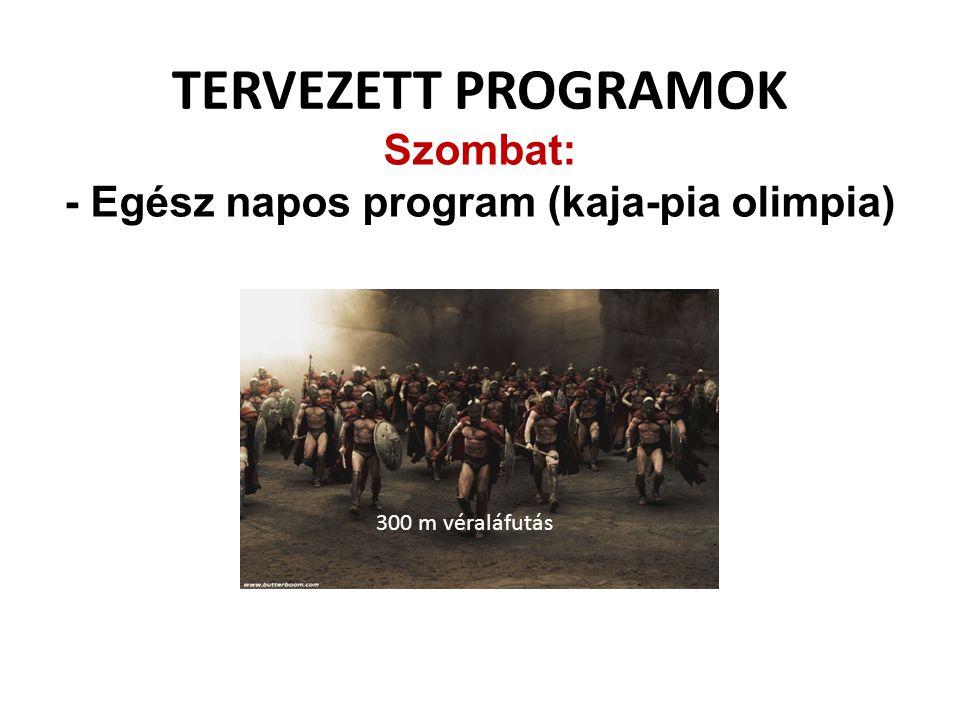 TERVEZETT PROGRAMOK Szombat: - Egész napos program (kaja-pia olimpia) 300 m véraláfutás