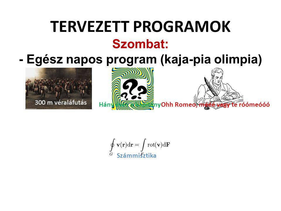 TERVEZETT PROGRAMOK Szombat: - Egész napos program (kaja-pia olimpia) 300 m véraláfutás Hány éves a kapitányOhh Romeo, mééé vagy te róómeóóó Számmiszt