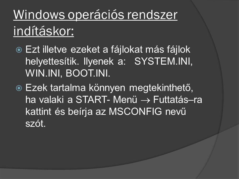 Windows operációs rendszer indításkor:  Ezt illetve ezeket a fájlokat más fájlok helyettesítik. Ilyenek a: SYSTEM.INI, WIN.INI, BOOT.INI.  Ezek tart