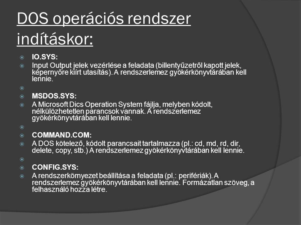 DOS operációs rendszer indításkor:  IO.SYS:  Input Output jelek vezérlése a feladata (billentyűzetről kapott jelek, képernyőre kiírt utasítás). A re