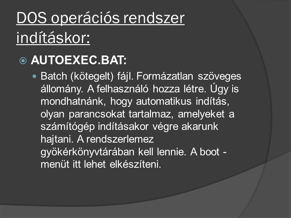 DOS operációs rendszer indításkor:  AUTOEXEC.BAT: Batch (kötegelt) fájl. Formázatlan szöveges állomány. A felhasználó hozza létre. Úgy is mondhatnánk