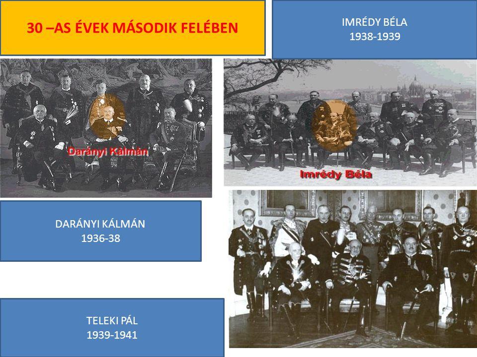 DARÁNYI KÁLMÁN 1936-38 IMRÉDY BÉLA 1938-1939 TELEKI PÁL 1939-1941 30 –AS ÉVEK MÁSODIK FELÉBEN