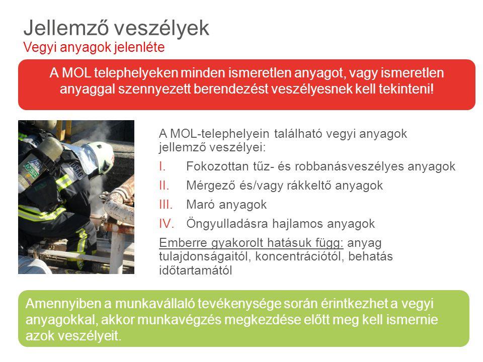 A MOL-telephelyein található vegyi anyagok jellemző veszélyei: I.Fokozottan tűz- és robbanásveszélyes anyagok II.Mérgező és/vagy rákkeltő anyagok III.