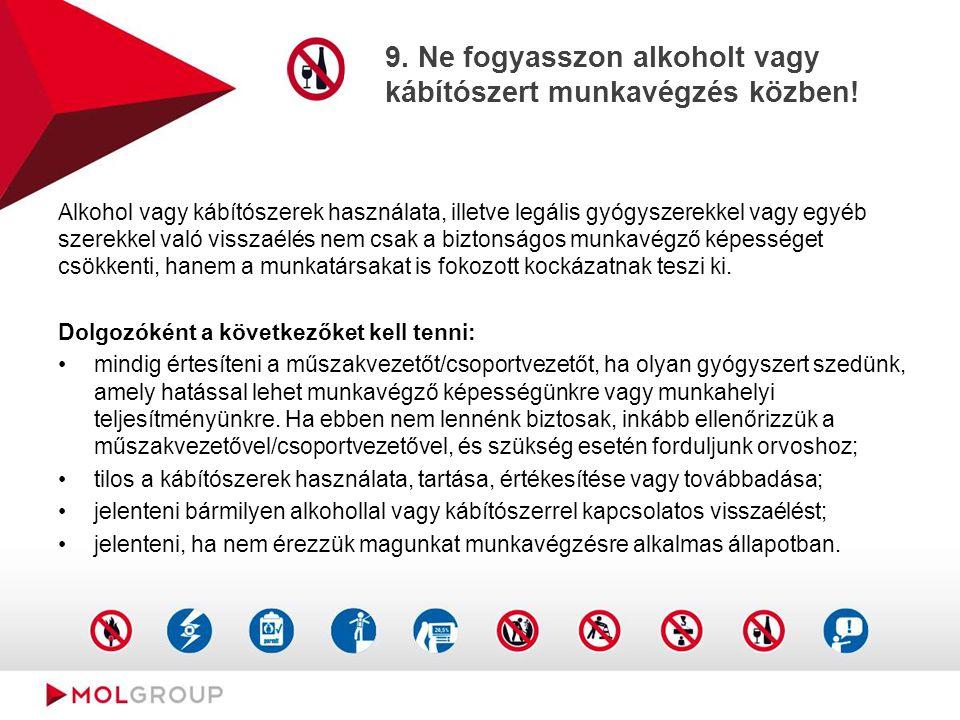 9. Ne fogyasszon alkoholt vagy kábítószert munkavégzés közben! Alkohol vagy kábítószerek használata, illetve legális gyógyszerekkel vagy egyéb szerekk
