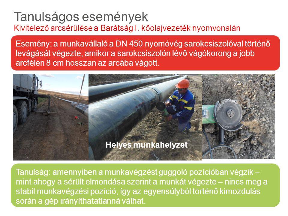 Előforduló veszélyes anyagok és tulajdonságaik Tanulságos események Kivitelező arcsérülése a Barátság I. kőolajvezeték nyomvonalán Tanulság: amennyibe