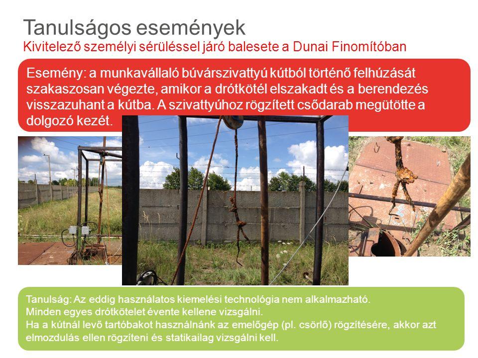 Előforduló veszélyes anyagok és tulajdonságaik Tanulságos események Kivitelező személyi sérüléssel járó balesete a Dunai Finomítóban Tanulság: Az eddi