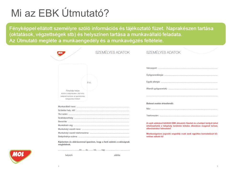 EBK ellenőrzések A munkavégzés ellenőrzésére jogosult MOL munkavállalók: FF és EBK szakértői, műszaki ellenőrzést végző munkavállalók, nagyleállási iroda munkatársai, igénylő szervezetek munkatársai, üzemeltetők képviselői.