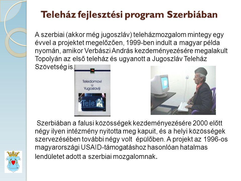 Teleház fejlesztési program Szerbiában A szerbiai (akkor még jugoszláv) teleházmozgalom mintegy egy évvel a projektet megelőzően, 1999-ben indult a magyar példa nyomán, amikor Verbászi András kezdeményezésére megalakult Topolyán az első teleház és ugyanott a Jugoszláv Teleház Szövetség is.