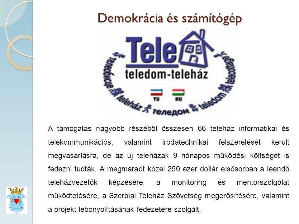 Demokrácia és számítógép A támogatás nagyobb részéből összesen 66 teleház informatikai és telekommunikációs, valamint irodatechnikai felszerelését került megvásárlásra, de az új teleházak 9 hónapos működési költségét is fedezni tudták.
