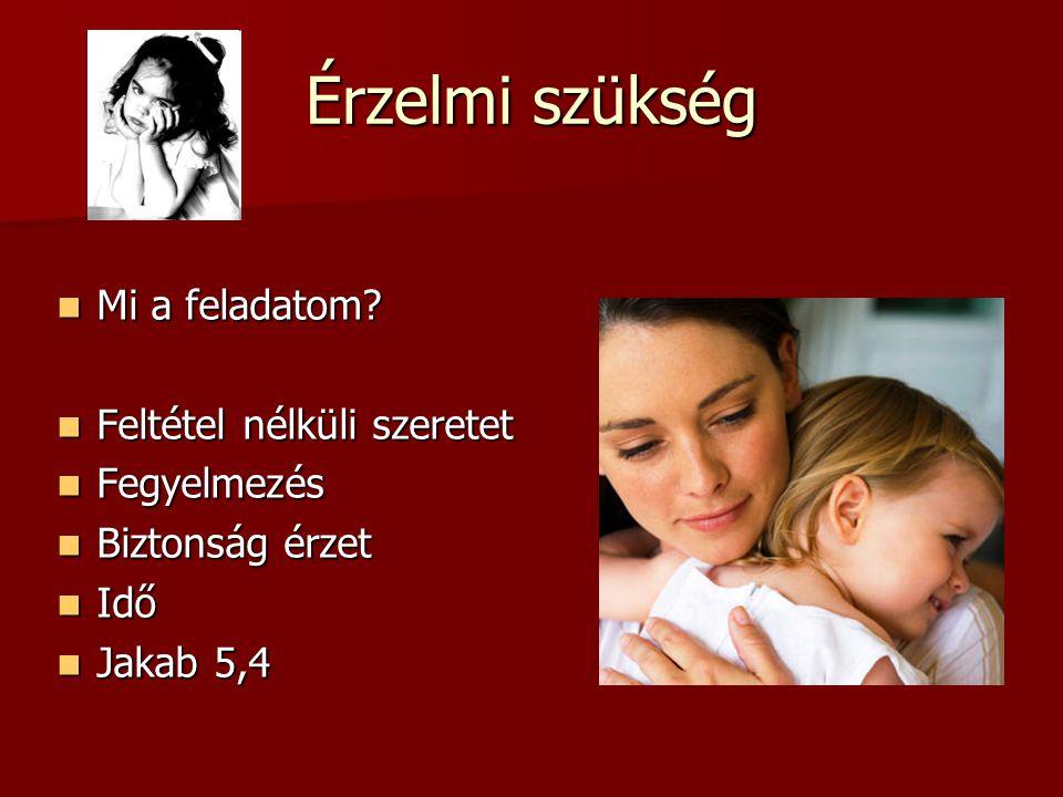 Érzelmi szükség Mi a feladatom? Mi a feladatom? Feltétel nélküli szeretet Feltétel nélküli szeretet Fegyelmezés Fegyelmezés Biztonság érzet Biztonság