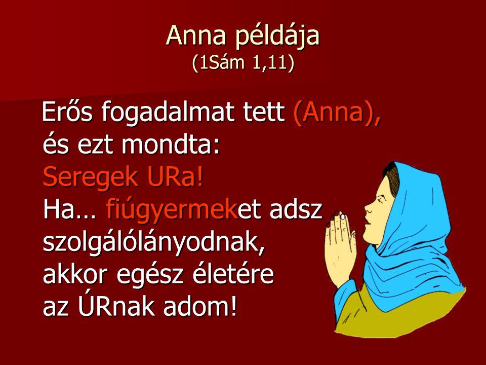 Anna példája (1Sám 1,11) Erős fogadalmat tett (Anna), Erős fogadalmat tett (Anna), és ezt mondta: és ezt mondta: Seregek URa! Seregek URa! Ha… fiúgyer