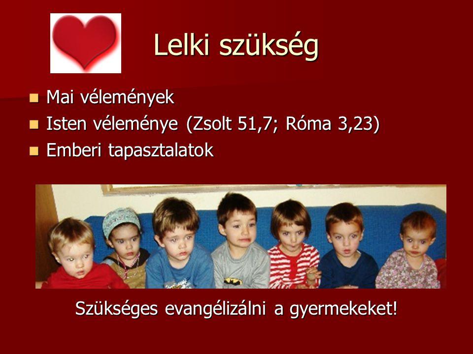 Lelki szükség Mai vélemények Mai vélemények Isten véleménye (Zsolt 51,7; Róma 3,23) Isten véleménye (Zsolt 51,7; Róma 3,23) Emberi tapasztalatok Emberi tapasztalatok Szükséges evangélizálni a gyermekeket!